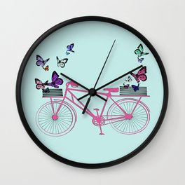 Pink bicycle with butterflies Wall Clock