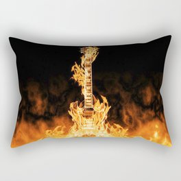 Flaming Guitar Rectangular Pillow