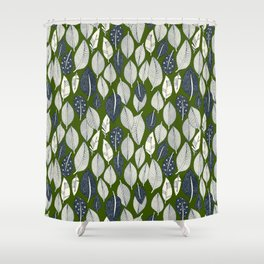 leaves and feathers green Shower Curtain
