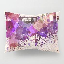 Bucharest skyline in watercolor background Pillow Sham