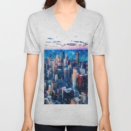 Chicago, Illinois Watercolor Skyline  Unisex V-Neck