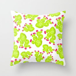 Summer hand painted pink green watercolor cactus Throw Pillow