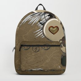 Steampunk heart with wings and gears Backpack