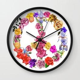 Peace Flowers Wall Clock