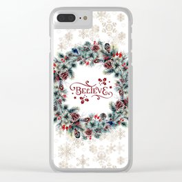 Elegant Believe Typography Christmas Wreath Gold Snowflakes Clear iPhone Case