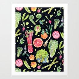 Spring Harvest Pattern Dark Art Print
