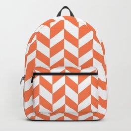 HERRINGBONE (CORAL & WHITE) Backpack