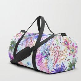 Eden Floral Multi White Duffle Bag