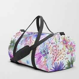 Eden Floral Multi White Duffle Bag