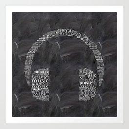 Headphone on chalkboard Art Print