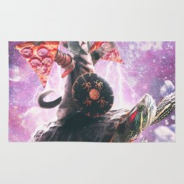 Lazer Warrior Space Cat Riding Turtle With Pizza Rug