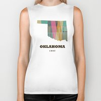 oklahoma Biker Tanks featuring Oklahoma state map modern  by bri.buckley