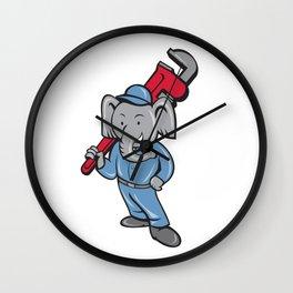 Elephant Plumber Monkey Wrench Cartoon Wall Clock