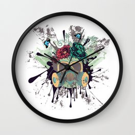 Green Gas Mask with Roses Wall Clock