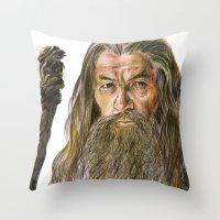 gandalf Throw Pillows featuring Gandalf by Labani