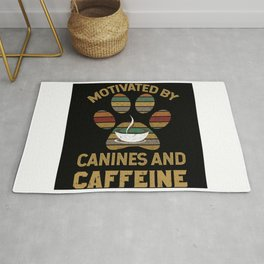 Motivated by canines and caffeine T-Shirt Rug
