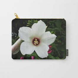 White Hollyhock Carry-All Pouch
