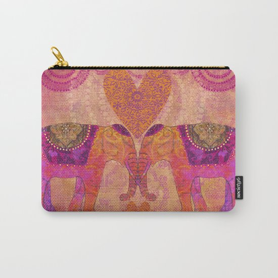 Elephants in Love with heart Carry-All Pouch