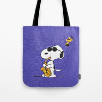 snoopy Tote Bags featuring Snoopy by DisPrints