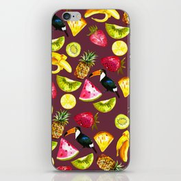 Burgundy yellow pink watercolor tropical bird fruit iPhone Skin