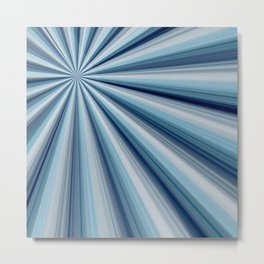 Blue Star Burst Metal Print