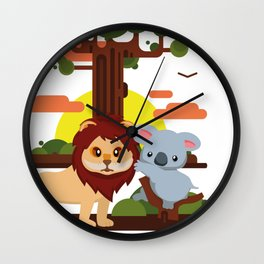 Leo lion & Koalina Wall Clock