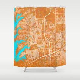 Frisco, TX, USA, Gold, Blue, City, Map Shower Curtain