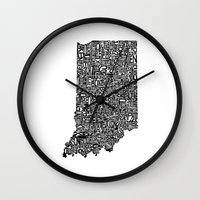 indiana Wall Clocks featuring Typographic Indiana by CAPow!