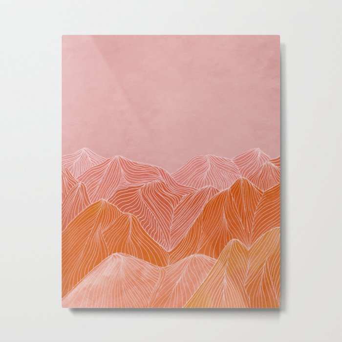 Lines in the mountains - pink II Metal Print