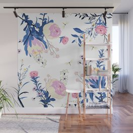 Floral pattern King Protea pink blush blue grey Wall Mural