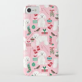 Bichon Frise pink christmas holiday themed pattern print pet friendly dog breed gifts iPhone Case