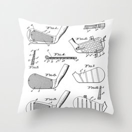Golf Clubs Patent - Golfing Art - Black And White Throw Pillow