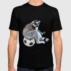 Cute ring tail monkey and basketball, soccer ball. Animal photo art. Mens Fitted Tee Black MEDIUM