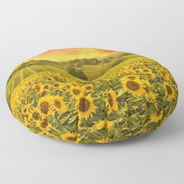 Red sunset over the rolling sunflowers and sunflower fields of Tuscany, Italy Floor Pillow