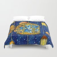lanterns Duvet Covers featuring Lanterns by Anca Chelaru