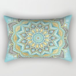 Cyan & Golden Yellow Sunny Skies Medallion Rectangular Pillow