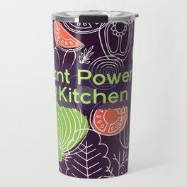 Plant Powered Kitchen Veggie Pattern Background Travel Mug