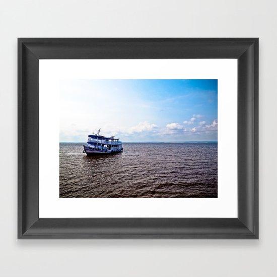 Amazon river boat Framed Art Print