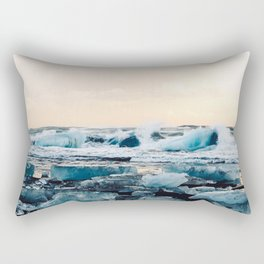 Waves Crashing on the Ice of Diamond Beach, Iceland at Sunset Rectangular Pillow