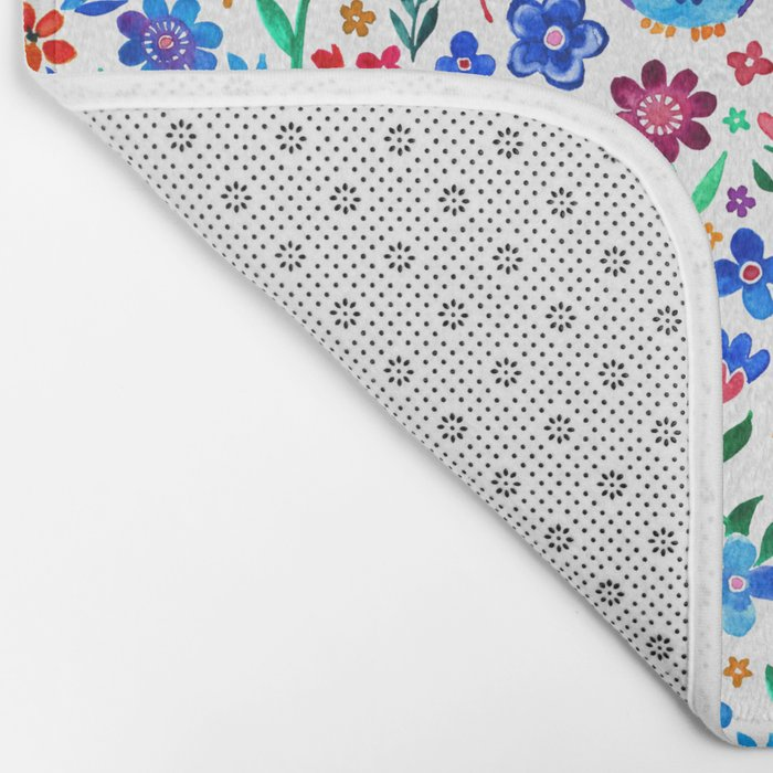 Little Owls and Flowers on White Bath Mat