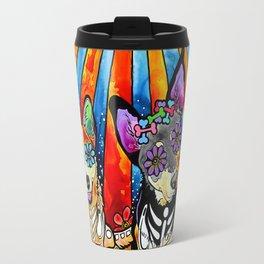 Australian Cattle Dog Sugar Skull Painting Travel Mug