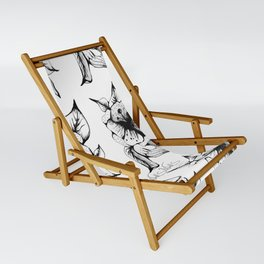 BLACK AND WHITE FLOWER Sling Chair