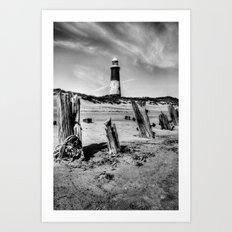 Spurn Point Lighthouse and Groynes Art Print