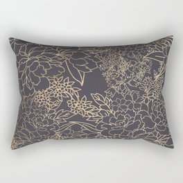 Luxury winter floral golden strokes doodles design Rectangular Pillow