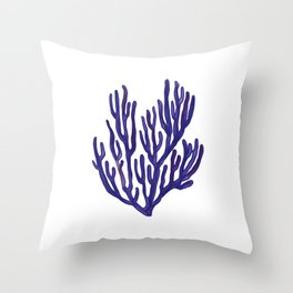 Blue Sea Coral  Illustration Throw Pillow