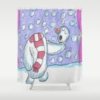 hamlet Shower Curtains featuring Christmas #5 Snow Hamlet by Clinton Morgan Artworks