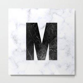 Black Marble Initial Monogram Letter M Metal Print