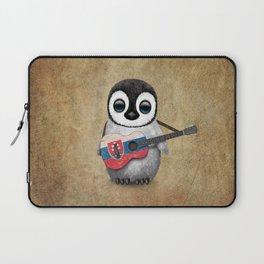 Baby Penguin Playing Slovakian Flag Guitar Laptop Sleeve