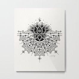 Lotus Blossom Mandala – Black Palette Metal Print