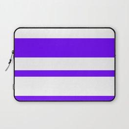 Mixed Horizontal Stripes - White and Indigo Violet Laptop Sleeve